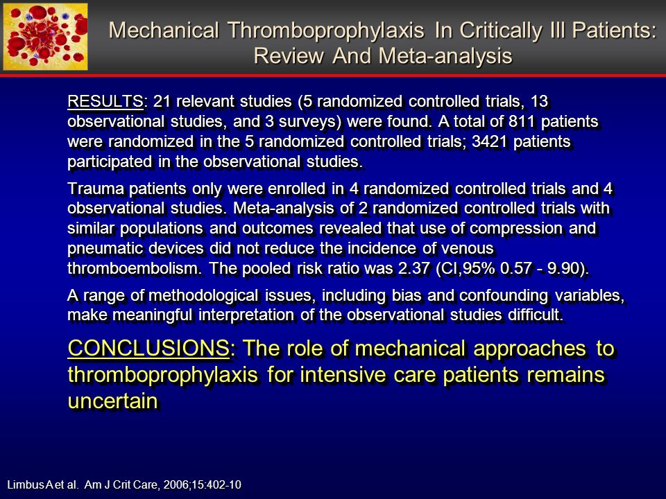 Mechanical Thromboprophylaxis In Critically Ill Patients: Review And Meta-analysis RESULTS: 21 relevant studies (5 randomized controlled trials, 13 observational studies, and 3 surveys) were found.