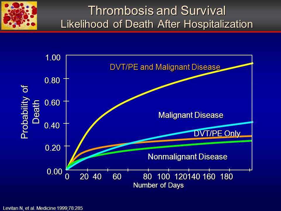 Thrombosis and Survival Likelihood of Death After Hospitalization 0 20 40 60 80 100 120140 160 180 0 20 40 60 80 100 120140 160 180 0.00 0.20 0.401.000.80 0.60 DVT/PE and Malignant Disease Malignant Disease DVT/PE Only Nonmalignant Disease Number of Days Probability of Death Levitan N, et al.