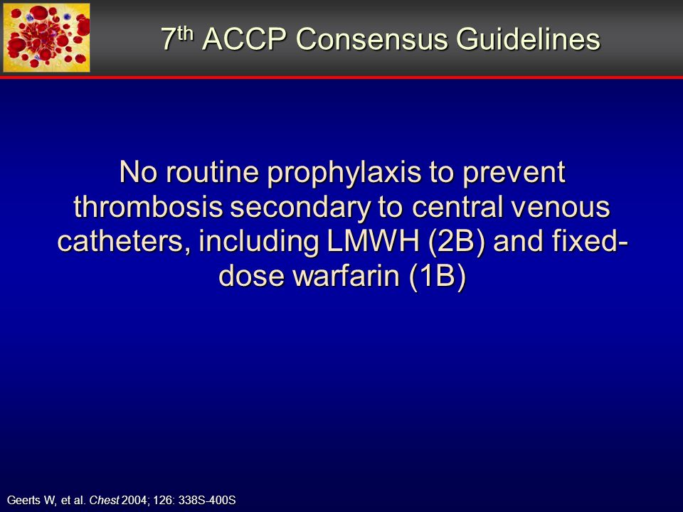 7 th ACCP Consensus Guidelines Geerts W, et al.