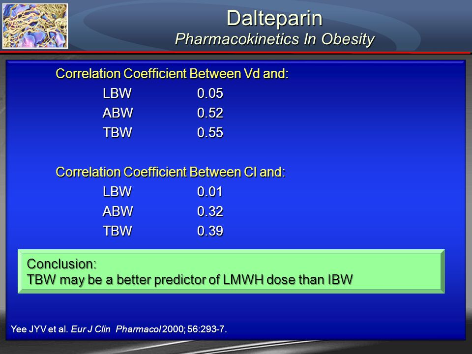 Dalteparin Pharmacokinetics In Obesity Correlation Coefficient Between Vd and: LBW0.05 ABW0.52 TBW0.55 Correlation Coefficient Between Cl and: LBW0.01