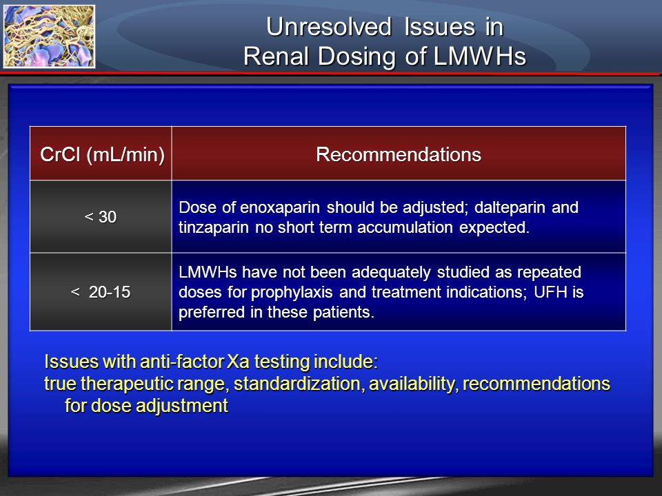 Unresolved Issues in Renal Dosing of LMWHs CrCl (mL/min) Recommendations < 30 Dose of enoxaparin should be adjusted; dalteparin and tinzaparin no shor
