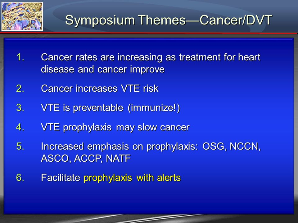 Symposium ThemesCancer/DVT 1.Cancer rates are increasing as treatment for heart disease and cancer improve 2.Cancer increases VTE risk 3.VTE is preven
