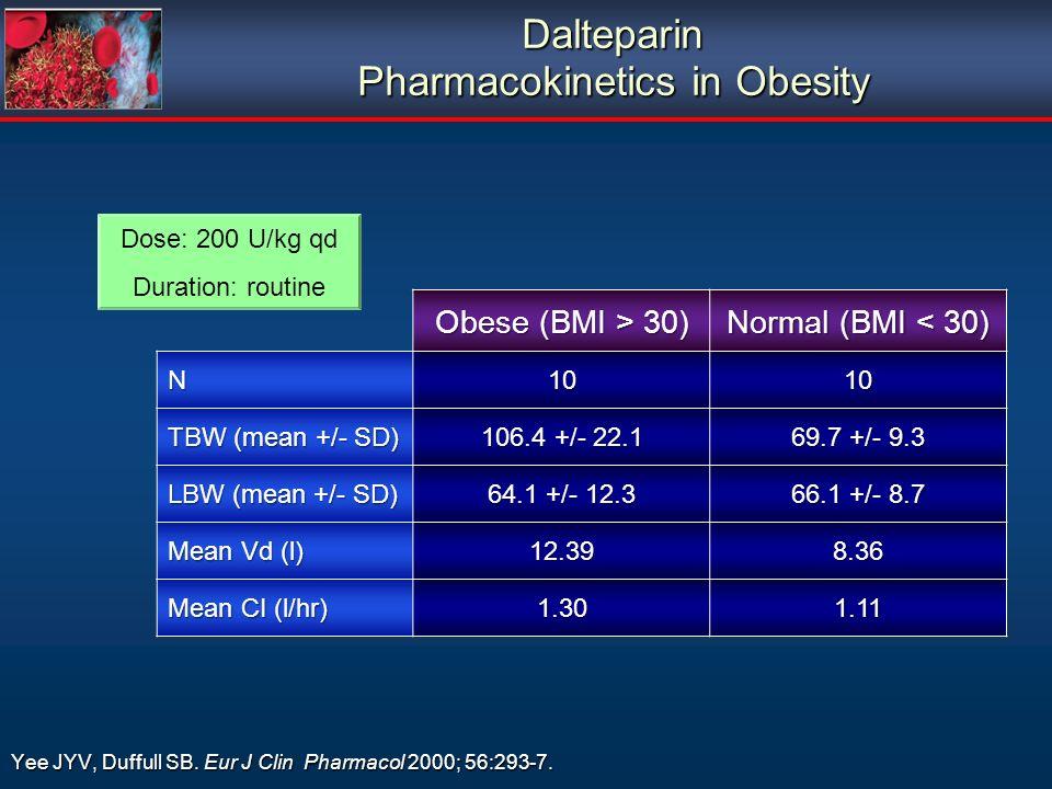 Dalteparin Pharmacokinetics in Obesity Yee JYV, Duffull SB. Eur J Clin Pharmacol 2000; 56:293-7. Dose: 200 U/kg qd Duration: routine Obese (BMI > 30)
