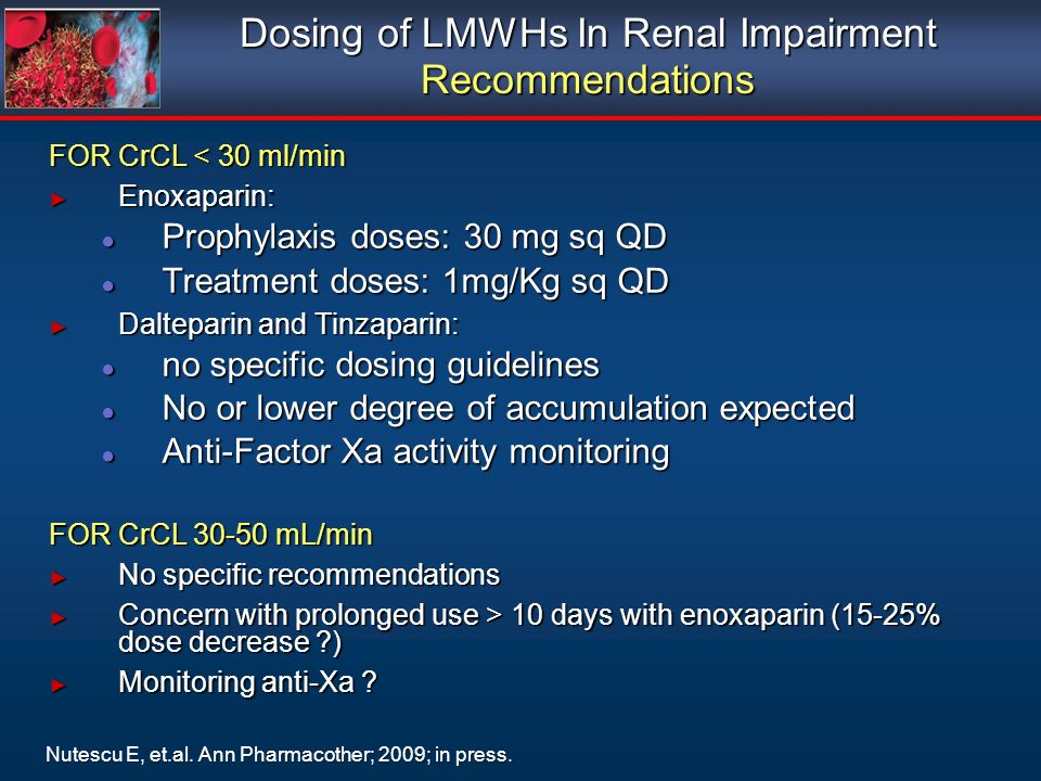 Dosing of LMWHs In Renal Impairment Recommendations FOR CrCL < 30 ml/min Enoxaparin: Enoxaparin: Prophylaxis doses: 30 mg sq QD Prophylaxis doses: 30 mg sq QD Treatment doses: 1mg/Kg sq QD Treatment doses: 1mg/Kg sq QD Dalteparin and Tinzaparin: Dalteparin and Tinzaparin: no specific dosing guidelines no specific dosing guidelines No or lower degree of accumulation expected No or lower degree of accumulation expected Anti-Factor Xa activity monitoring Anti-Factor Xa activity monitoring FOR CrCL 30-50 mL/min No specific recommendations No specific recommendations Concern with prolonged use > 10 days with enoxaparin (15-25% dose decrease ?) Concern with prolonged use > 10 days with enoxaparin (15-25% dose decrease ?) Monitoring anti-Xa .