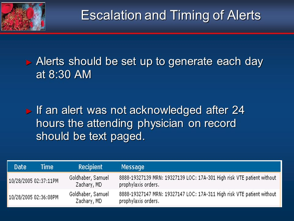 Escalation and Timing of Alerts Alerts should be set up to generate each day at 8:30 AM Alerts should be set up to generate each day at 8:30 AM If an