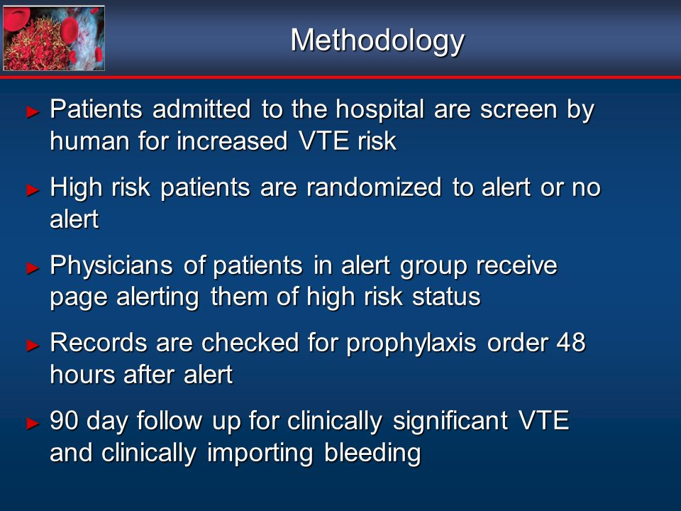 Methodology Patients admitted to the hospital are screen by human for increased VTE risk Patients admitted to the hospital are screen by human for inc