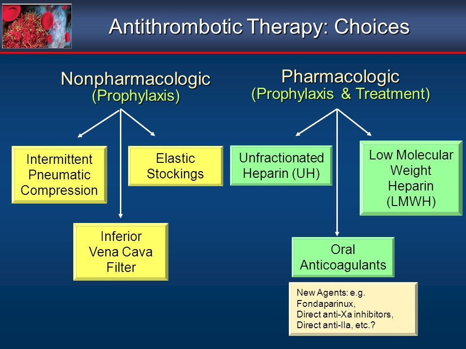 Pharmacologic (Prophylaxis & Treatment) Nonpharmacologic(Prophylaxis) Antithrombotic Therapy: Choices Intermittent Pneumatic Compression Elastic Stockings Inferior Vena Cava Filter Oral Anticoagulants Unfractionated Heparin (UH) Low Molecular Weight Heparin (LMWH) New Agents: e.g.