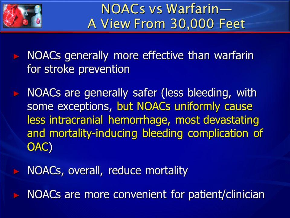 NOACs vs Warfarin A View From 30,000 Feet NOACs generally more effective than warfarin for stroke prevention NOACs generally more effective than warfa