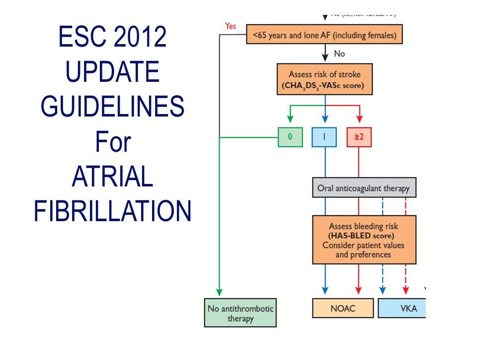 ESC 2012 UPDATE GUIDELINES For ATRIAL FIBRILLATION