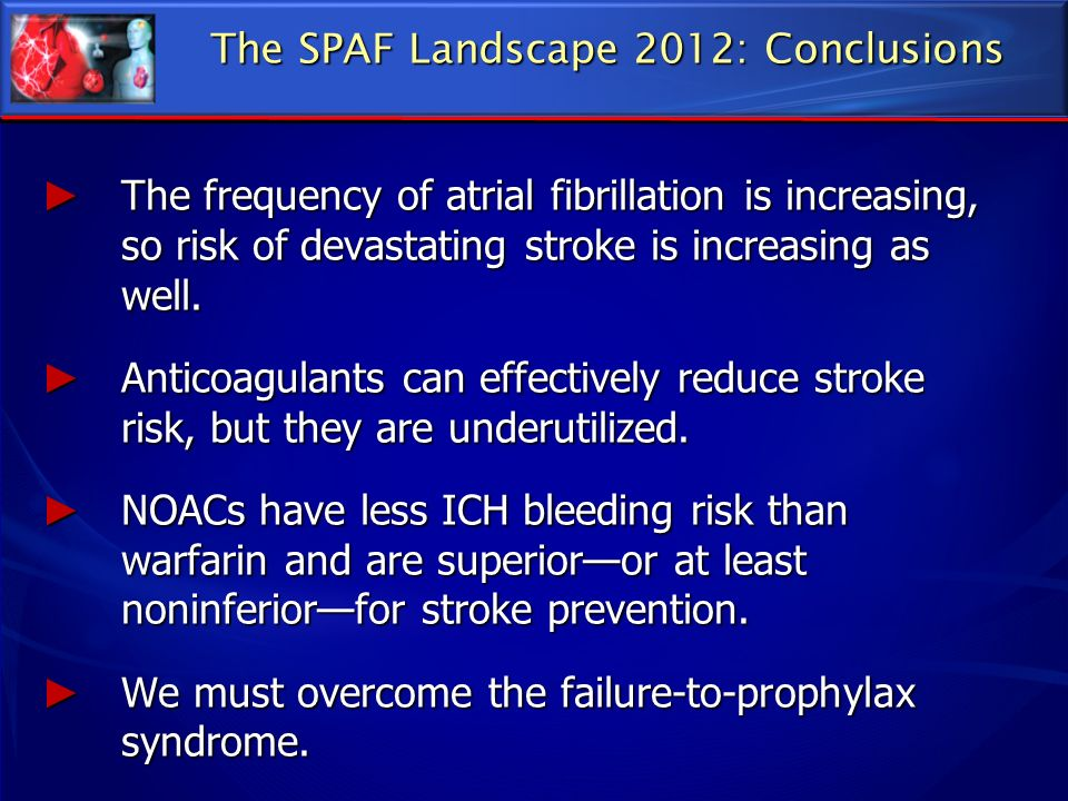 The SPAF Landscape 2012: Conclusions The frequency of atrial fibrillation is increasing, so risk of devastating stroke is increasing as well. The freq