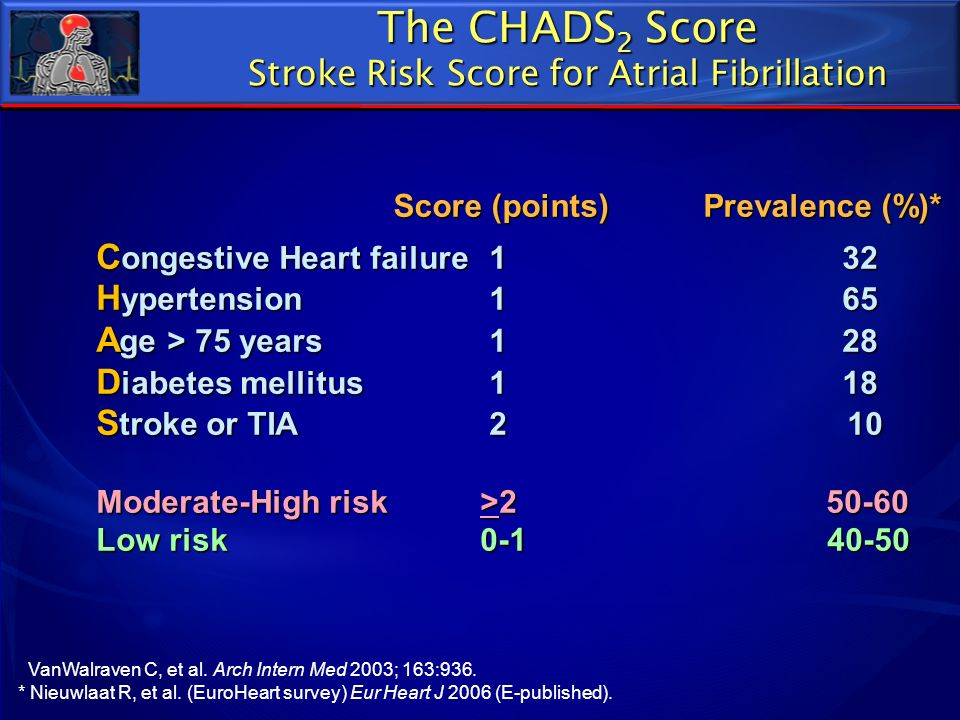 The CHADS 2 Score Stroke Risk Score for Atrial Fibrillation C ongestive Heart failure 1 32 H ypertension 1 65 A ge > 75 years 1 28 D iabetes mellitus