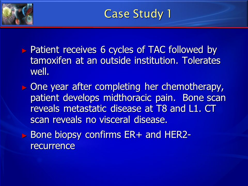Patient receives 6 cycles of TAC followed by tamoxifen at an outside institution. Tolerates well. Patient receives 6 cycles of TAC followed by tamoxif