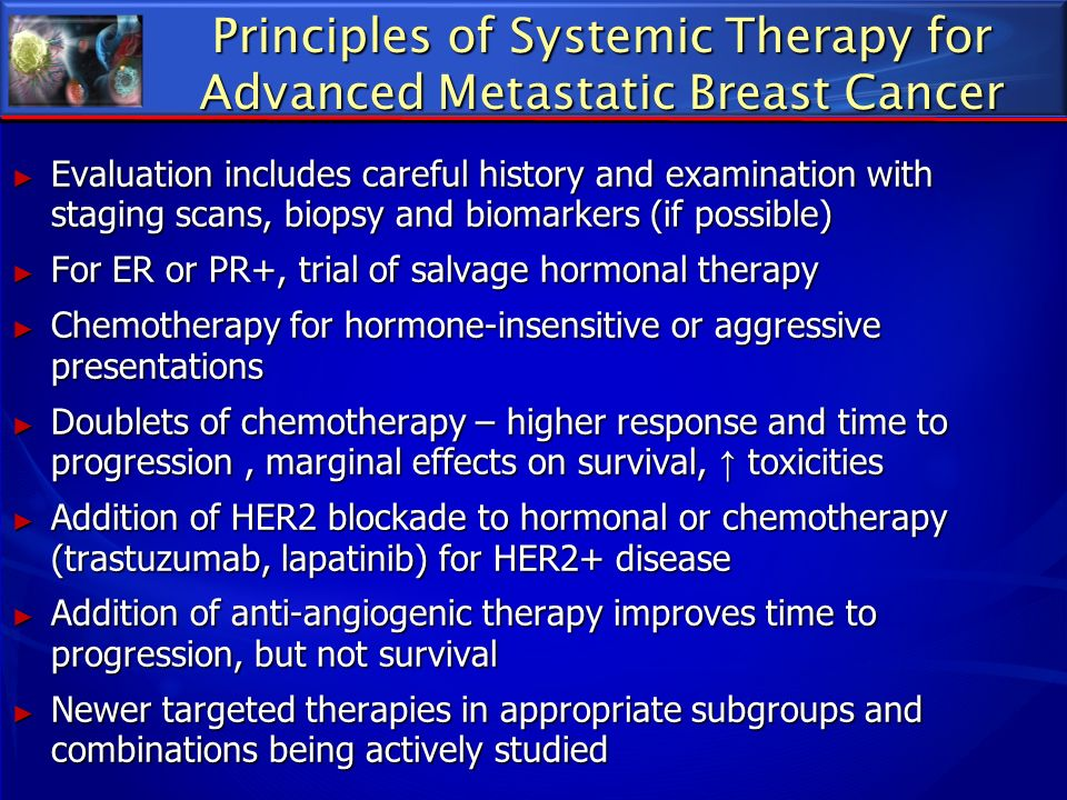 Principles of Systemic Therapy for Advanced Metastatic Breast Cancer Evaluation includes careful history and examination with staging scans, biopsy an