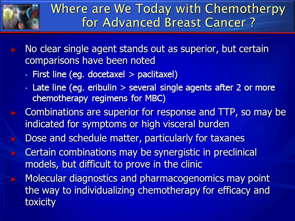 Where are We Today with Chemotherpy for Advanced Breast Cancer ? No clear single agent stands out as superior, but certain comparisons have been noted