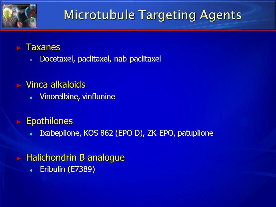 Microtubule Targeting Agents Taxanes Taxanes Docetaxel, paclitaxel, nab-paclitaxel Docetaxel, paclitaxel, nab-paclitaxel Vinca alkaloids Vinca alkaloi