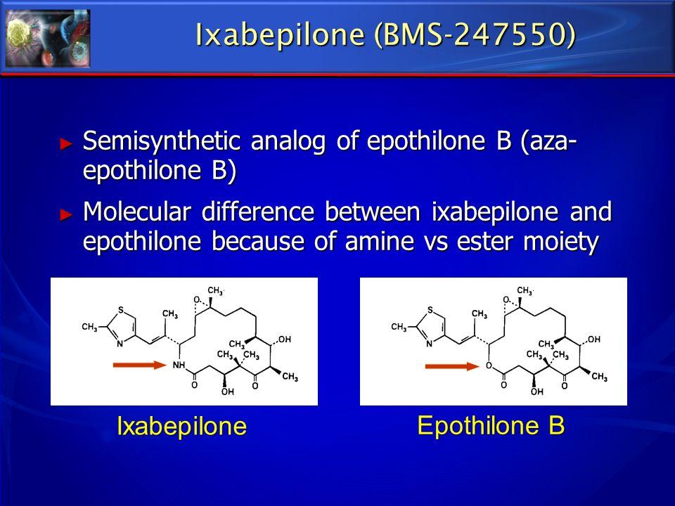 Ixabepilone (BMS-247550) Epothilone B Ixabepilone Semisynthetic analog of epothilone B (aza- epothilone B) Semisynthetic analog of epothilone B (aza-