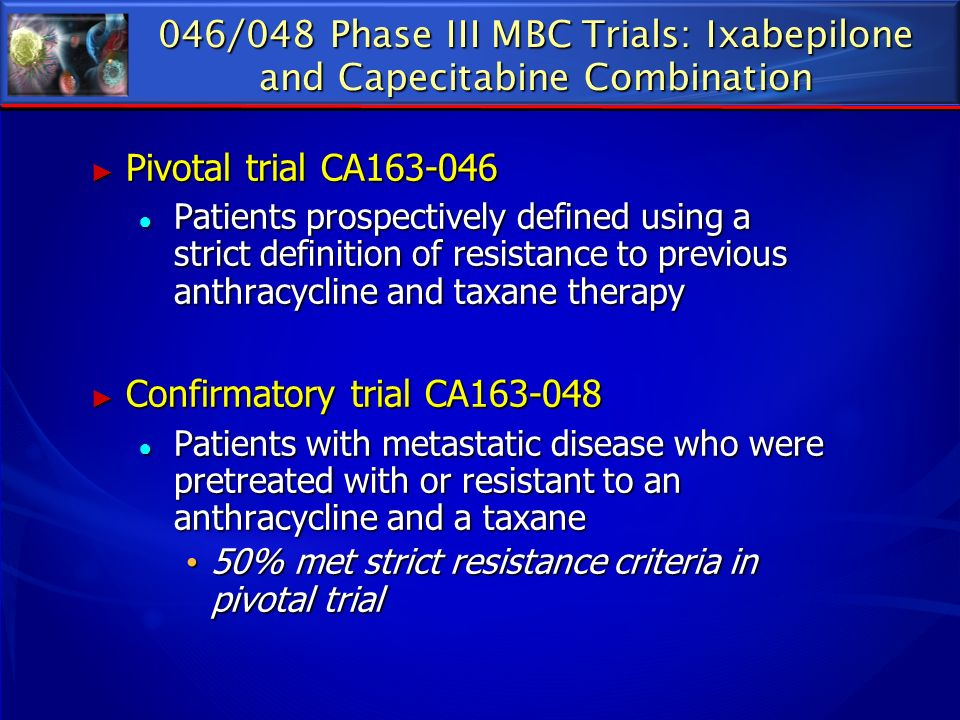 046/048 Phase III MBC Trials: Ixabepilone and Capecitabine Combination Pivotal trial CA163-046 Pivotal trial CA163-046 Patients prospectively defined