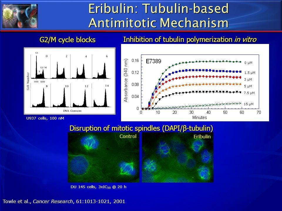 Eribulin: Tubulin-based Antimitotic Mechanism 0 μM 1.5 μM 3 μM 5 μM 7.5 μM 15 μM Inhibition of tubulin polymerization in vitro U937 cells, 100 nM G2/M