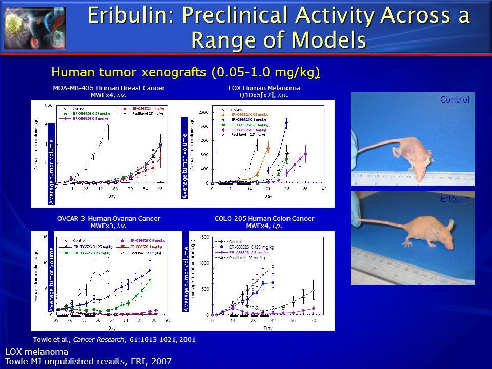 Eribulin: Preclinical Activity Across a Range of Models Control Eribulin LOX melanoma Towle MJ unpublished results, ERI, 2007 MDA-MB-435 Human Breast