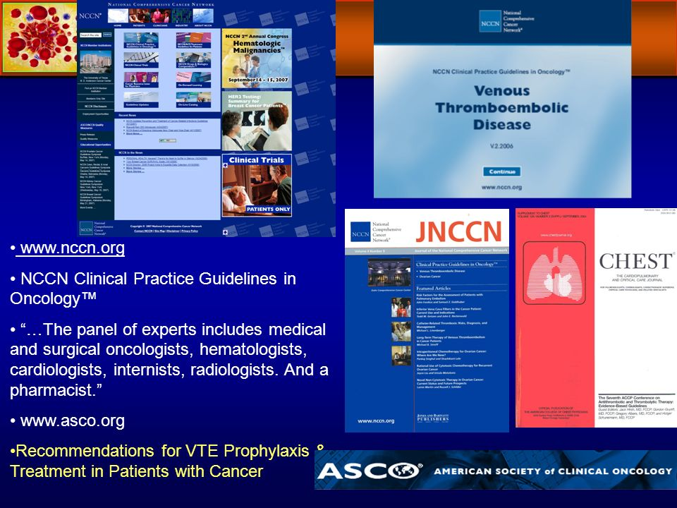 www.nccn.org NCCN Clinical Practice Guidelines in Oncology …The panel of experts includes medical and surgical oncologists, hematologists, cardiologis
