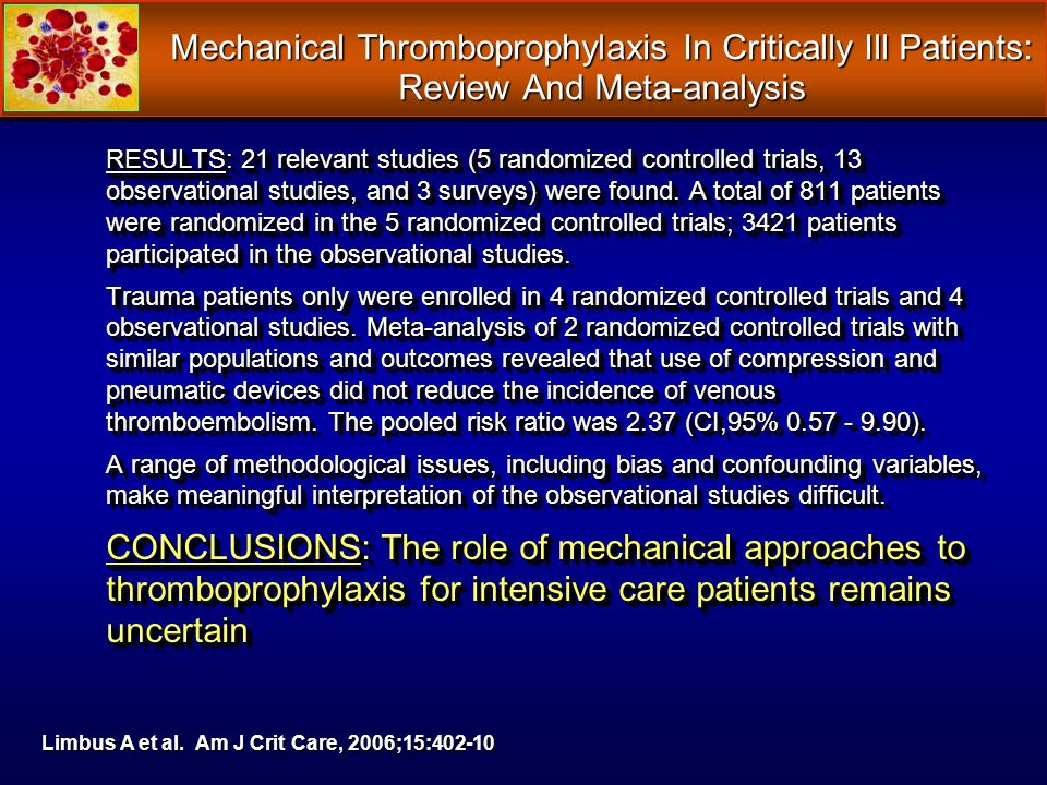Mechanical Thromboprophylaxis In Critically Ill Patients: Review And Meta-analysis RESULTS: 21 relevant studies (5 randomized controlled trials, 13 ob