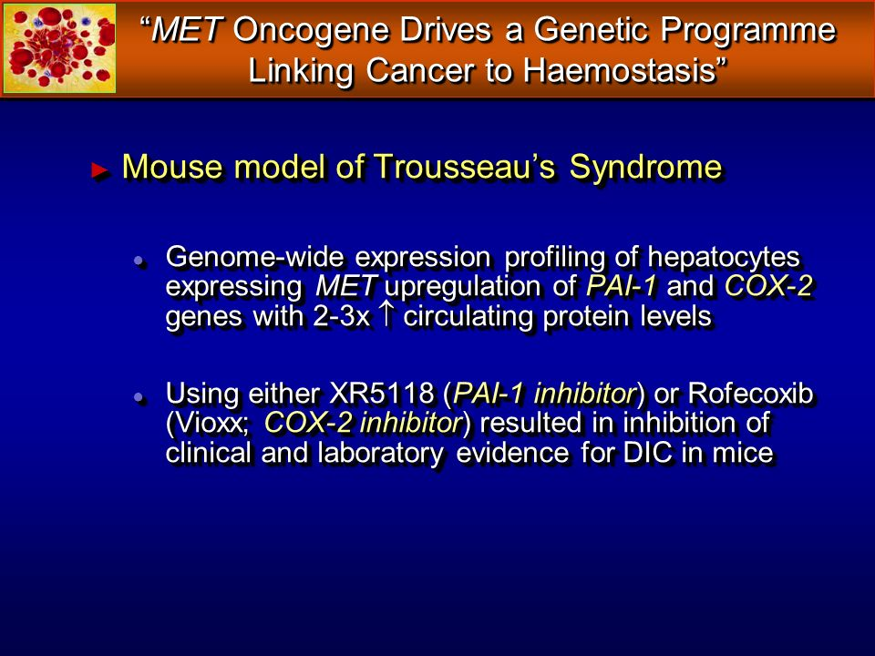 Mouse model of Trousseaus Syndrome Mouse model of Trousseaus Syndrome Genome-wide expression profiling of hepatocytes expressing MET upregulation of P