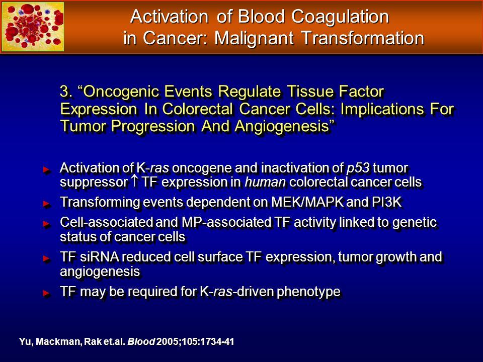 Activation of Blood Coagulation in Cancer: Malignant Transformation Activation of Blood Coagulation in Cancer: Malignant Transformation 3. Oncogenic E