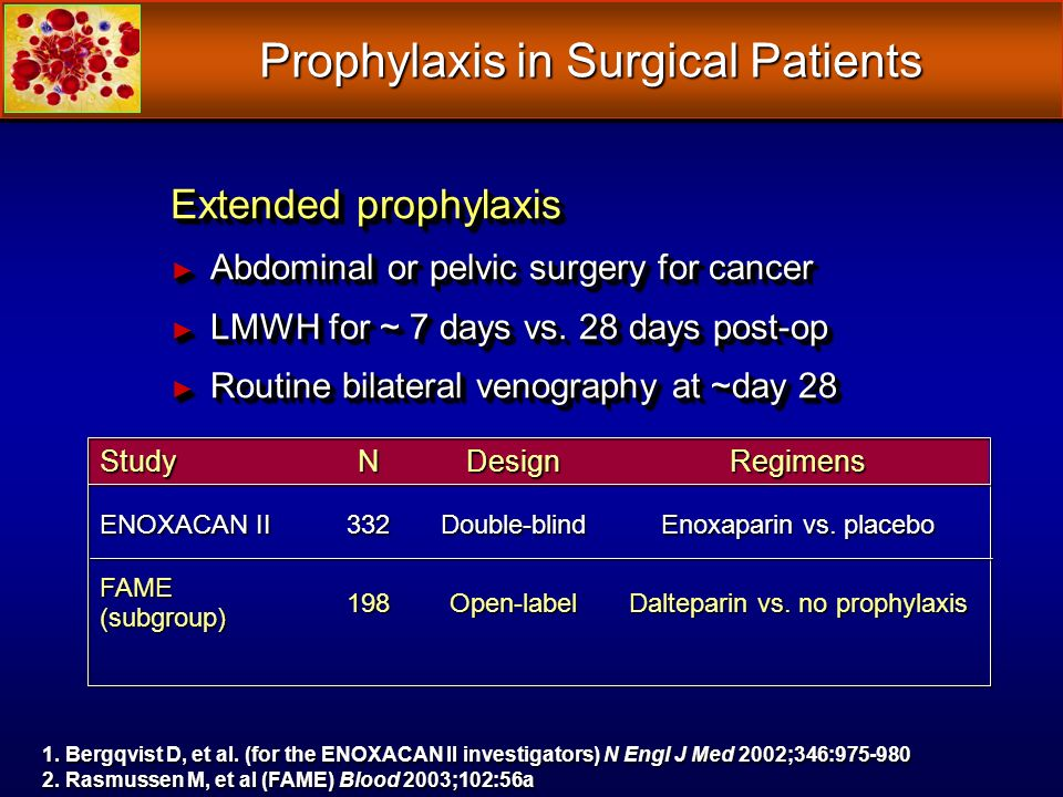 Extended prophylaxis Abdominal or pelvic surgery for cancer Abdominal or pelvic surgery for cancer LMWH for ~ 7 days vs.