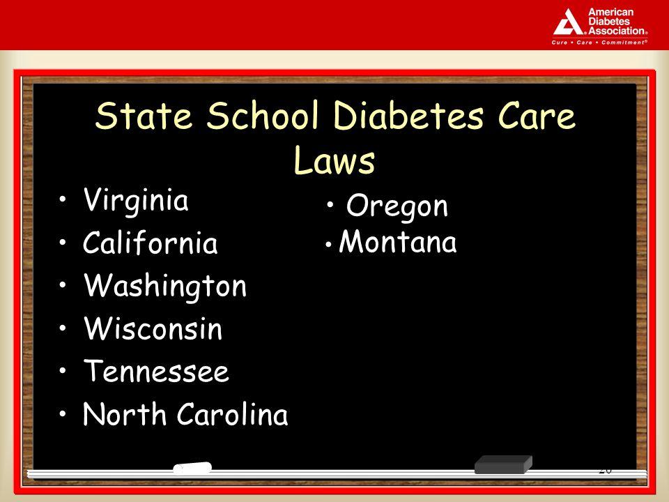 20 State School Diabetes Care Laws Virginia California Washington Wisconsin Tennessee North Carolina Oregon Montana