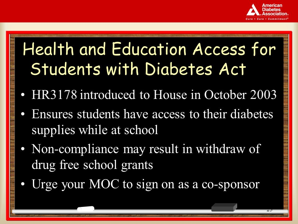 23 Health and Education Access for Students with Diabetes Act HR3178 introduced to House in October 2003 Ensures students have access to their diabetes supplies while at school Non-compliance may result in withdraw of drug free school grants Urge your MOC to sign on as a co-sponsor