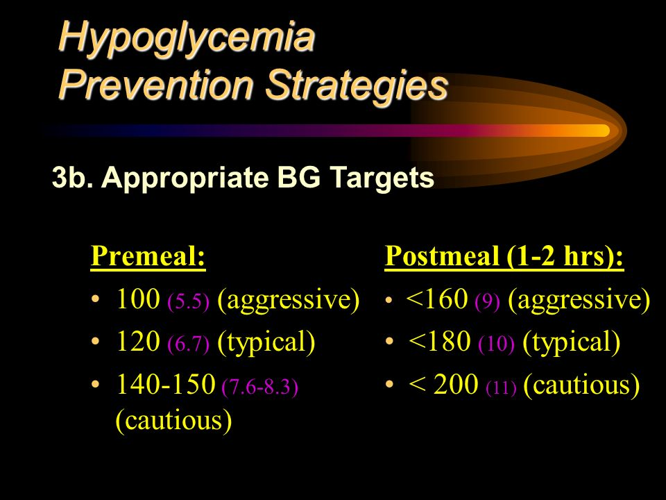 Hypoglycemia Prevention Strategies Premeal: 100 (5.5) (aggressive) 120 (6.7) (typical) ( ) (cautious) 3b.