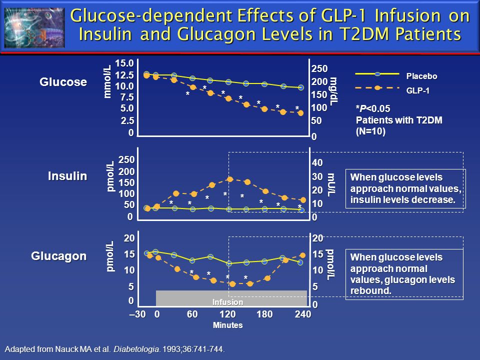 Glucose-dependent Effects of GLP-1 Infusion on Insulin and Glucagon Levels in T2DM Patients Adapted from Nauck MA et al. Diabetologia. 1993;36:741-744