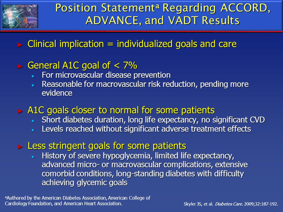 Position Statement a Regarding ACCORD, ADVANCE, and VADT Results Clinical implication = individualized goals and care Clinical implication = individua