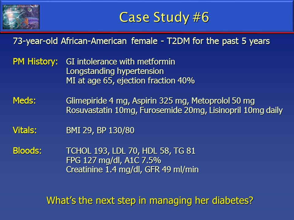 73-year-old African-American female - T2DM for the past 5 years PM History: GI intolerance with metformin Longstanding hypertension MI at age 65, ejec