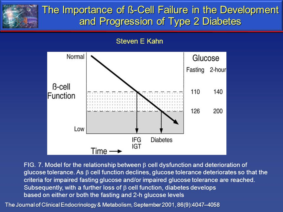 The Importance of ß-Cell Failure in the Development and Progression of Type 2 Diabetes FIG. 7. Model for the relationship between cell dysfunction and