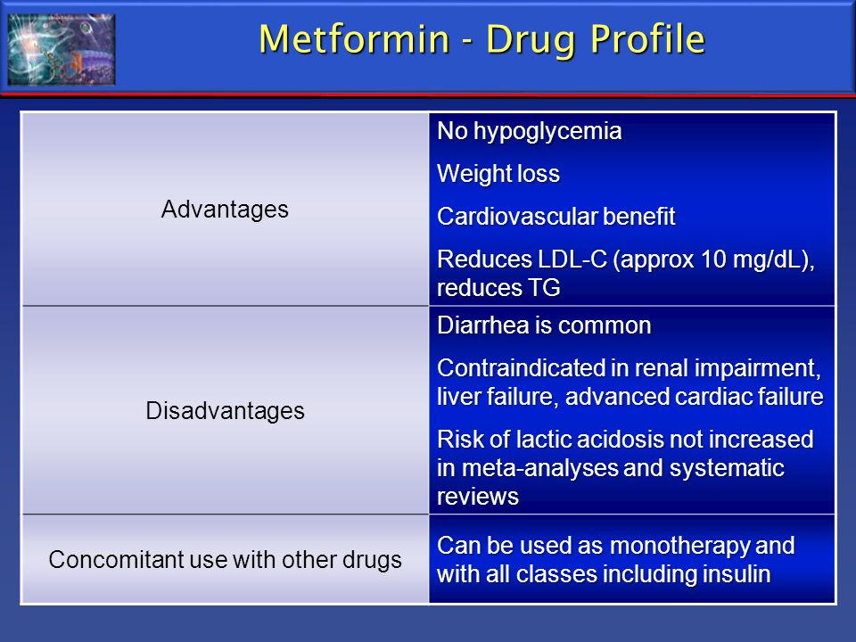 Metformin - Drug Profile Advantages No hypoglycemia Weight loss Cardiovascular benefit Reduces LDL-C (approx 10 mg/dL), reduces TG Disadvantages Diarr
