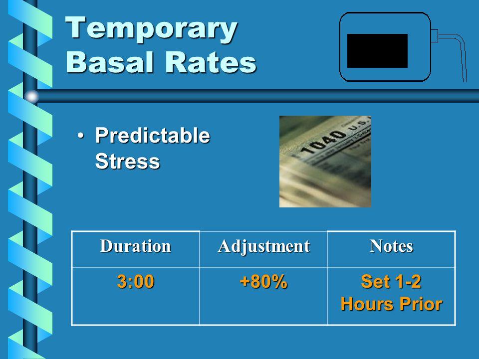 Temporary Basal Rates Predictable StressPredictable StressDurationAdjustmentNotes3:00+80% Set 1-2 Hours Prior