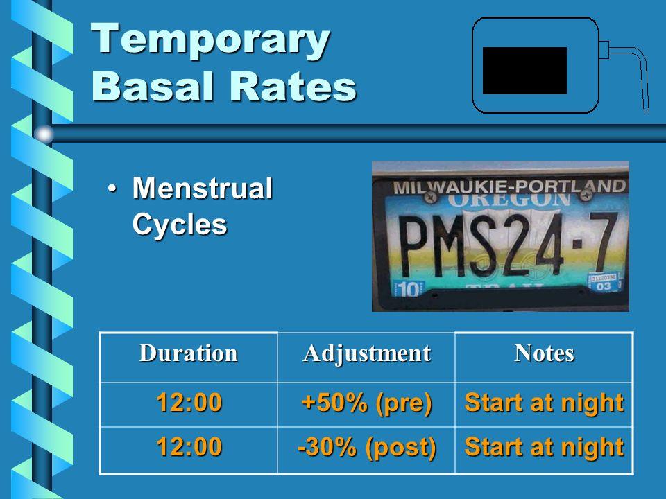 Temporary Basal Rates Menstrual CyclesMenstrual CyclesDurationAdjustmentNotes12:00 +50% (pre) Start at night 12:00 -30% (post) Start at night