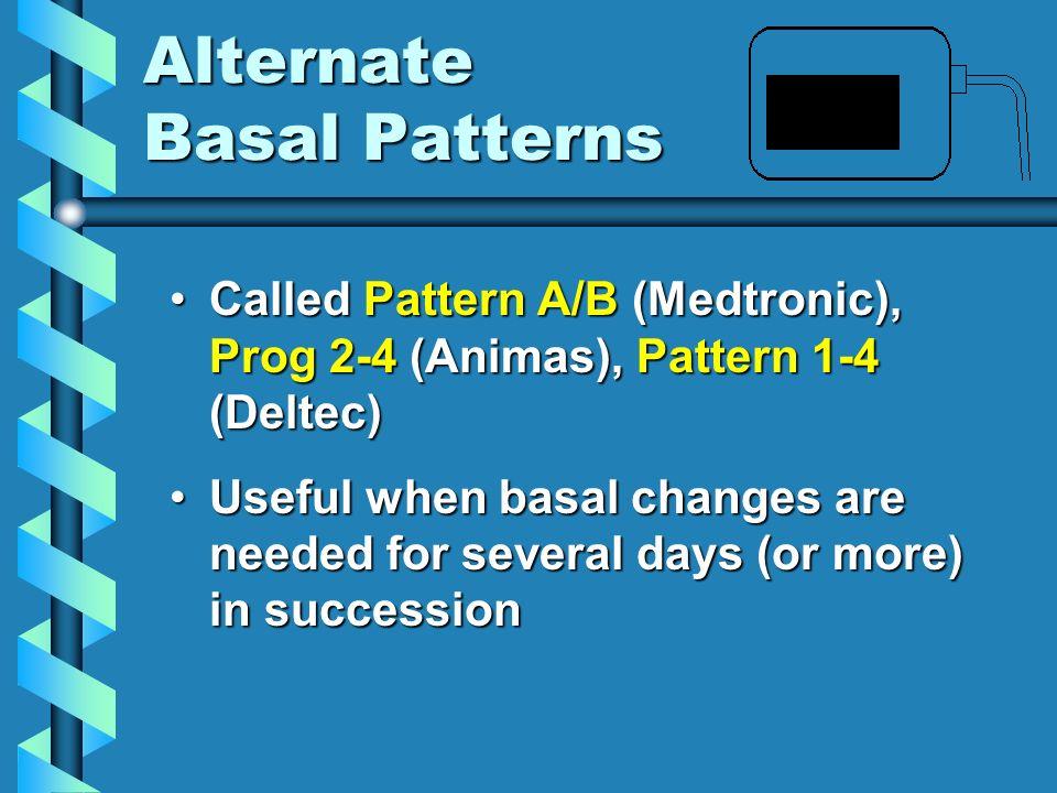 Alternate Basal Patterns Called Pattern A/B (Medtronic), Prog 2-4 (Animas), Pattern 1-4 (Deltec)Called Pattern A/B (Medtronic), Prog 2-4 (Animas), Pat