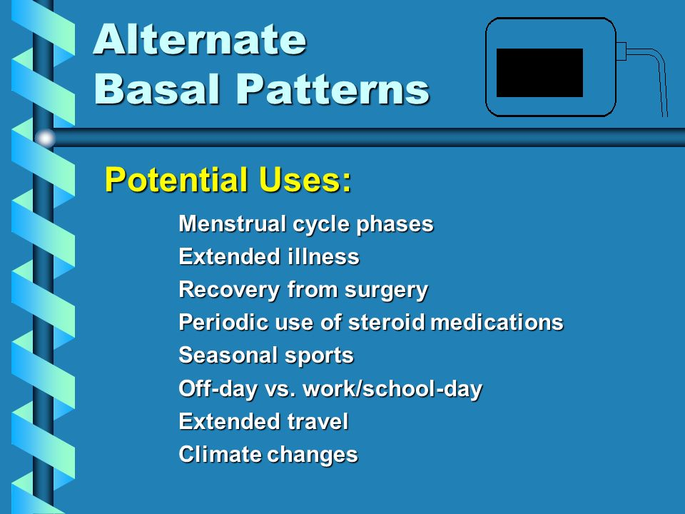 Alternate Basal Patterns Menstrual cycle phases Extended illness Recovery from surgery Periodic use of steroid medications Seasonal sports Off-day vs.