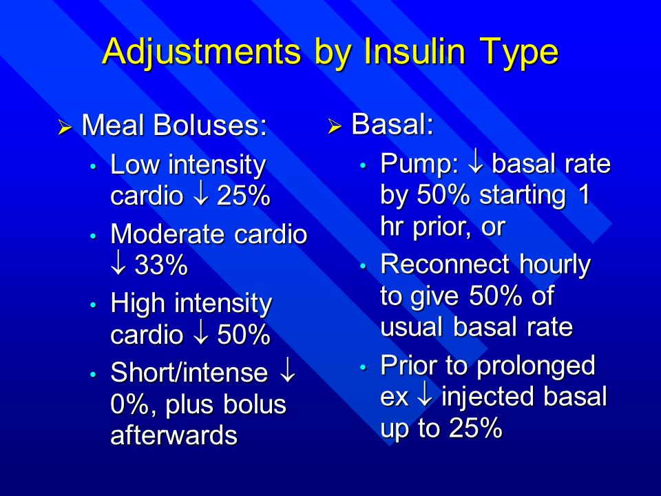 Adjustments by Insulin Type Meal Boluses: Meal Boluses: Low intensity cardio 25% Low intensity cardio 25% Moderate cardio 33% Moderate cardio 33% High