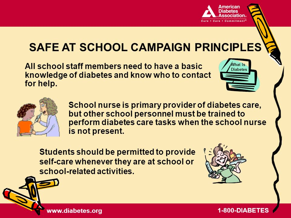 www.diabetes.org 1-800-DIABETES All school staff members need to have a basic knowledge of diabetes and know who to contact for help.