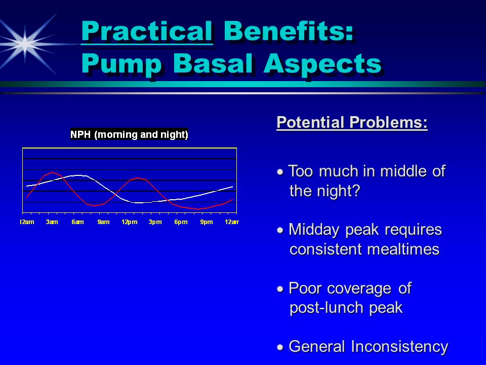 Practical Benefits: Pump Basal Aspects Potential Problems: Too much in middle of Too much in middle of the night? the night? Midday peak requires Midd