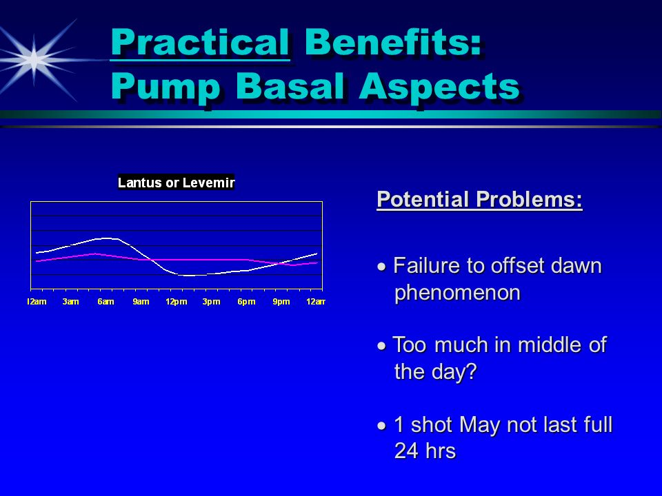 Practical Benefits: Pump Basal Aspects Potential Problems: Failure to offset dawn Failure to offset dawn phenomenon phenomenon Too much in middle of T