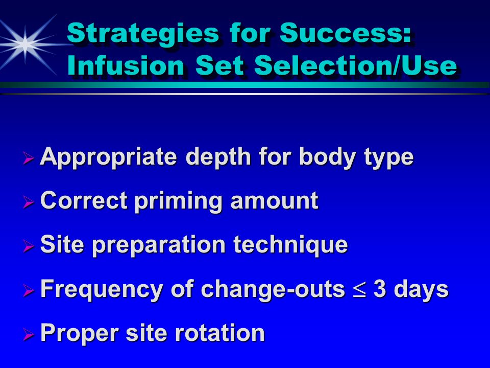 Strategies for Success: Infusion Set Selection/Use Appropriate depth for body type Appropriate depth for body type Correct priming amount Correct prim