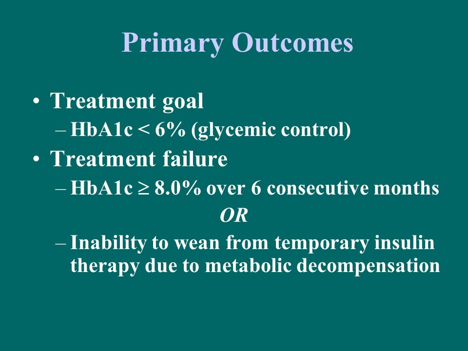 Primary Outcomes Treatment goal –HbA1c < 6% (glycemic control) Treatment failure –HbA1c 8.0% over 6 consecutive months OR –Inability to wean from temp