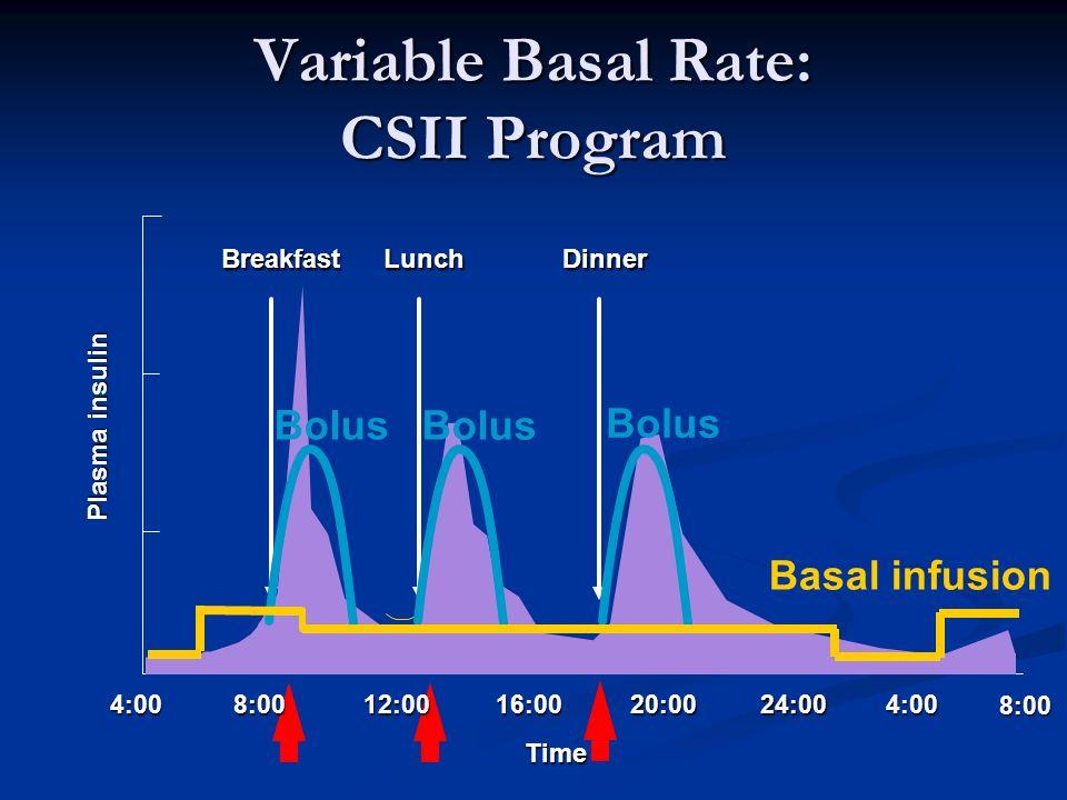 4:0016:0020:0024:004:00 BreakfastLunchDinner 8:00 12:008:00 Time Basal infusion Bolus Plasma insulin Variable Basal Rate: CSII Program