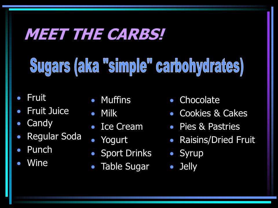 MEET THE CARBS! Fruit Fruit Juice Candy Regular Soda Punch Wine Muffins Milk Ice Cream Yogurt Sport Drinks Table Sugar Chocolate Cookies & Cakes Pies