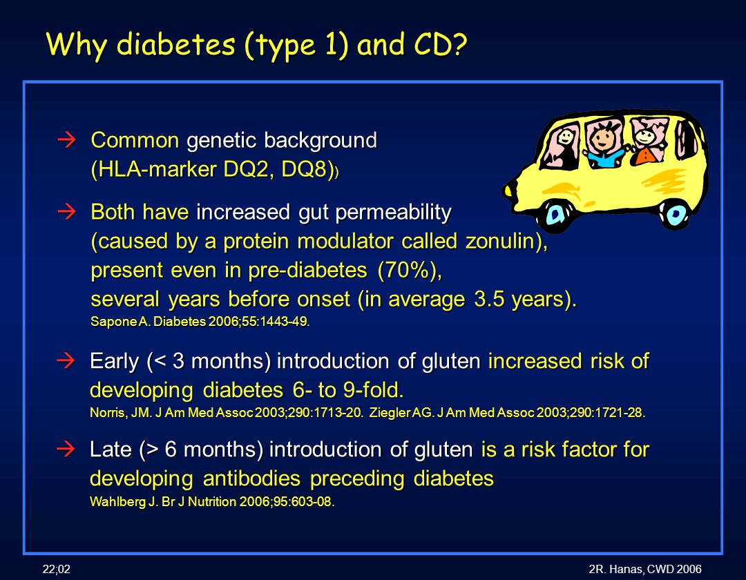 2R. Hanas, CWD 2006 22;02 Why diabetes (type 1) and CD? àCommon genetic background (HLA-marker DQ2, DQ8) ) àBoth have increased gut permeability (caus