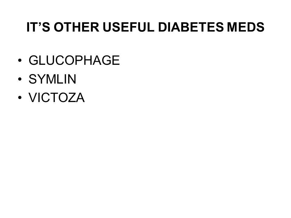 ITS OTHER USEFUL DIABETES MEDS GLUCOPHAGE SYMLIN VICTOZA